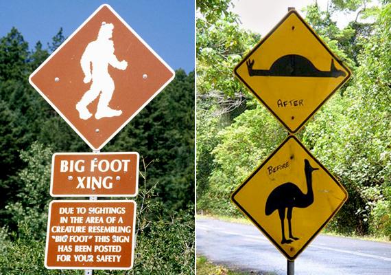 Coloradóban a biztonság kedvéért felhívják a kirándulók figyelmét arra, hogy az erdőkben egy Nagyláb nevű szörny garázdálkodik a legendák szerint. Az ausztráliai tábla ezzel szemben egy valósabb veszélyre figyelmeztet.