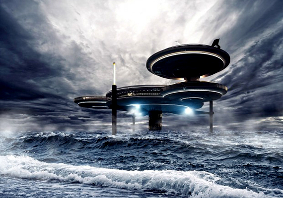 Úgy néz ki, mint egy űrhajó, ami a víz felszínén landolt.