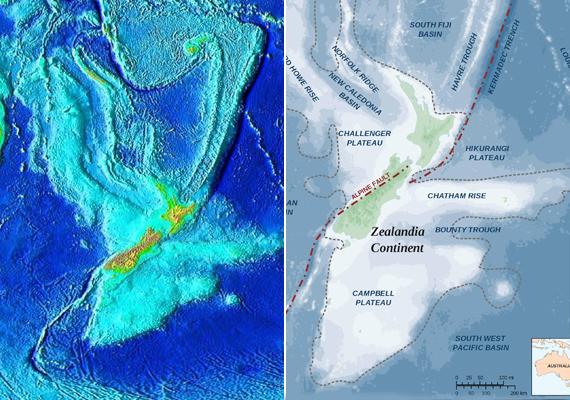 Zealandia térképe: tisztán látszik, hogy az egykori kontinens területén jóval sekélyebb a víz.