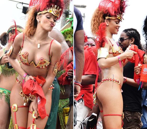 Rihanna hazalátogatott Barbadosra, hogy részt vehessen a tradicionális, évente megrendezett karneválon. A 23 éves énekesnő alig semmiben bulizott a tömegben.