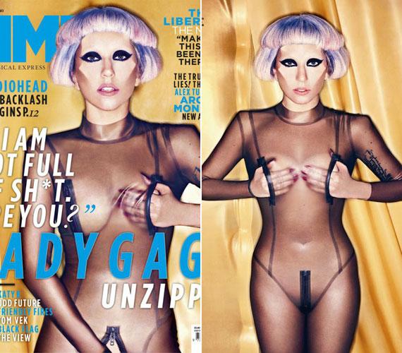 Lady GaGa az NME zenei magazin áprilisi címlapján provokálta rajongóit meglehetősen alulöltözve.