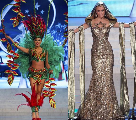 Bolívia szépe a nemzeti virágjukat idéző jelmezben jelent meg, míg Izrael legszebb lánya, Lina Makhuli menórának öltözött.