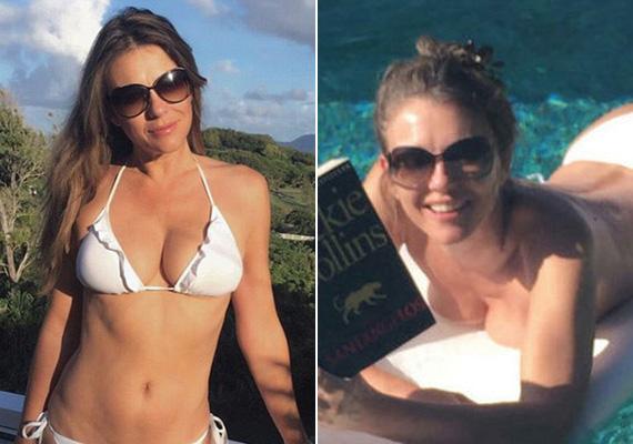 Elizabeth Hurley alakja ötvenévesen is irigylésre méltó. Nyaralása alatt egy fehér, fodros bikinit viselt, sőt, olvasás közben még a felsőjétől is megszabadult.