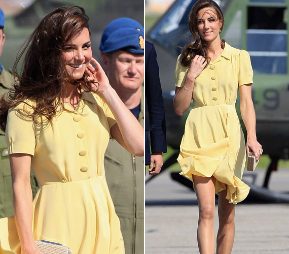A hercegi pár Kanadában és az USA-ban vendégeskedett két hétig, Kate egyik legbájosabb megjelenése ehhez az üde, sárga ruhához kötődött.