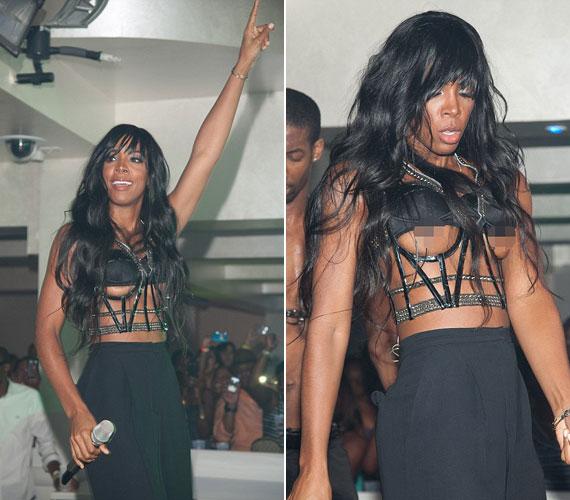 Kelly Rowland énekesnő egy koncerten tette közszemlére intim bájait, merész fekete ruhája nem sokat bízott a képzeletre.