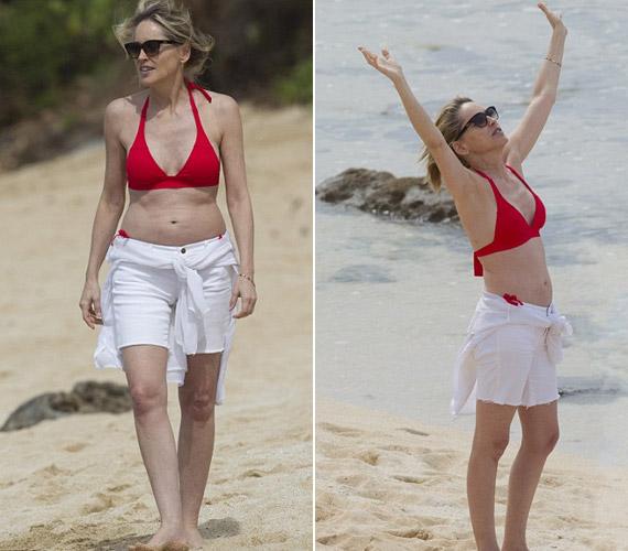 Az 54 éves Sharon Stone még ma is büszke lehet alakjára. 27 évvel fiatalabb barátja ma is vonzónak találja.
