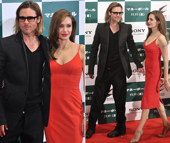 A népszerű sztárpár Brad Pitt legújabb mozija, a Pénzcsináló premierjére utazott Tokióba, ahol rajongók ezrei várták már őket. A díszvetítésre Angelina Jolie egy tűzpiros ruhában érkezett.