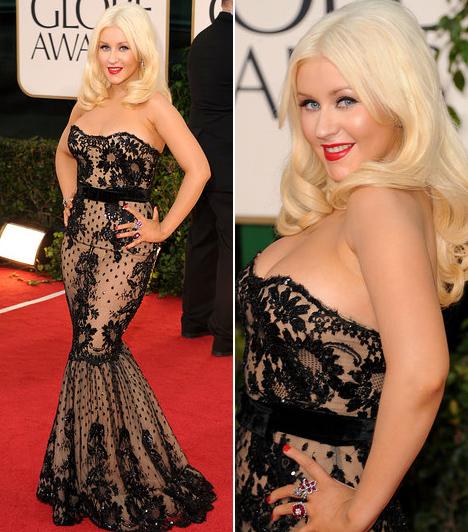Christina AguileraBár Christina Aguilera felszedett néhány pluszkilót, homokóra alakját remekül hangsúlyozta a Zuhair Murad kollekciójából választott, csipkével díszített dögös darab. Az énekesnő a 2010-es évben színésznőként próbálkozott a Díva című filmben, melyet jelöltek is a legjobb musical és vígjáték kategóriában, ám a Golden Globe díját a The Kids Are All Right orozta el a zenés alkotás elől.