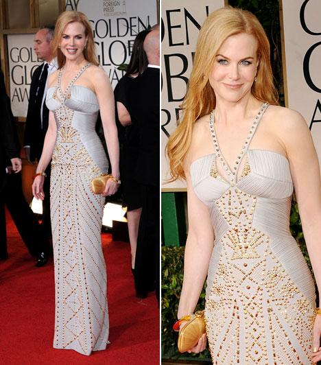 Nicole Kidman  A 44 éves színésznő szegecselt, krémszínű Versace ruhát viselt, ami csak még jobban sápasztotta az amúgy is fehér bőrű sztárt. Jobban tette volna, ha élénkebb, nőiesebb viseletet választ, ami ellensúlyozza hűvös karakterét.  Kapcsolódó szavazás: Hogy néz ki? Erre a fotójára biztos nem büszke Nicole Kidman »