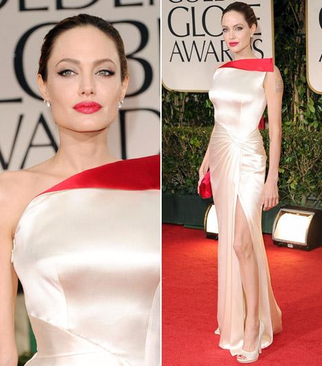 Angelina Jolie  A karcsú világsztár ezúttal sem okozott csalódást a fotósoknak Versace estélyijében. A pirosat pedig nemcsak hosszan felsliccelt selyemruhája kontúrjaként, hanem sokak által irigyelt telt ajkain is viselte.  Kapcsolódó cikk: Mit rejteget? Angelina Jolie gyanúsan bő ruhában lépett a vörös szőnyegre »