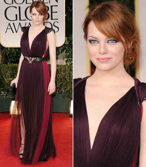 Emma StoneKétségtelenül az este egyik legfeltűnőbb jelensége volt Emma Stone ebben a különleges, hímzett vállrészű Lanvin estélyiben.