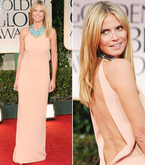 Heidi KlumA négygyerekes szupermodell egy Calvin Klein darabba bújtatta karcsú alakját - a merész kivágású ruha szinte az egész hátát szabadon hagyta.