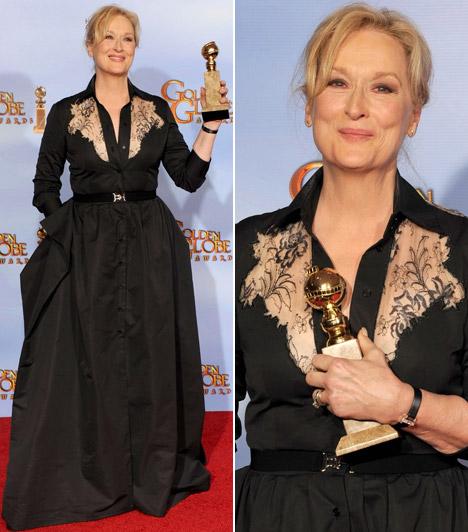 Meryl StreepA 60 fölött is elbűvölő Meryl Streep nem csak legújabb Golden Globe-szobrocskája, hanem elegáns megjelenése miatt is fogadhatta a gratulációkat.