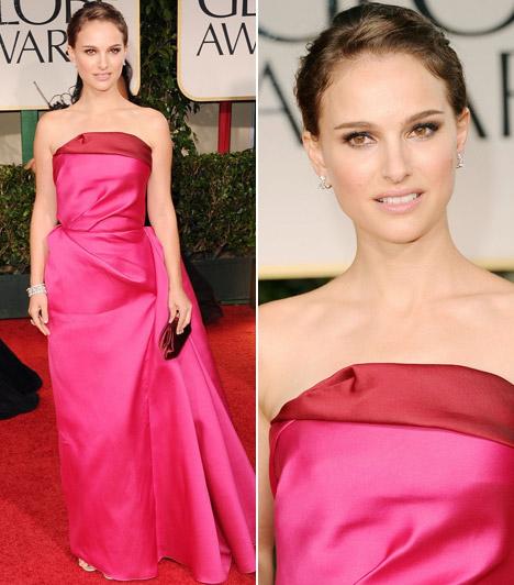 Natalie PortmanA tavalyi díjátadó gála egyik győztese idén egy feltűnő, földig érő pink Lanvin ruhában érkezett, melyhez Harry Winstonnál választott ékszereket. Haját egyszerű kontyba fogva mesésen festett a vörös szőnyegen.