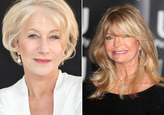Helen Mirren 70 éves elmúlt, 10 évet biztosan letagadhatna, nagyon csinos a természetes valójában. Igaz, Goldie sem néz ki úgy, mint aki túl van a 7. x-en, inkább azt mondanánk, hogy egy nagyon kétségbeesetten fiatalnak látszani akaró 55 éves nő.