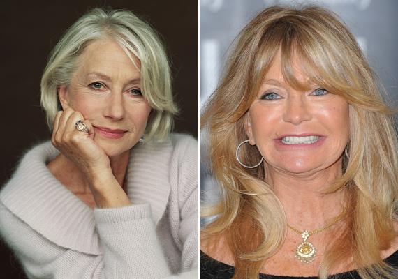 Helen Mirren sosem feküdt kés alá, ő néhány ráncával is szépnek tartja magát. Amíg az ő mosolya természetes, Goldie Hawné már kevésbé az, neki kezd teljesen eltorzulni az arca a műtétektől.
