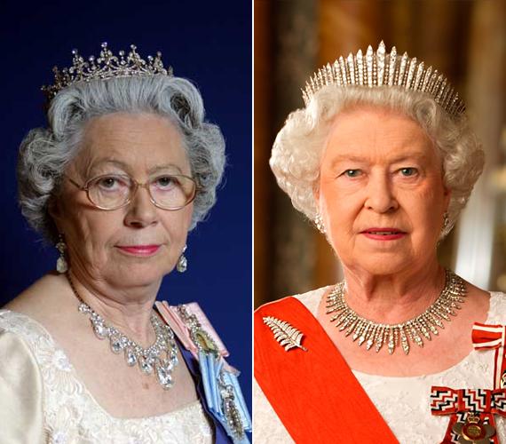 Balra Mary Reynolds látható Erzsébet királynőként, jobbra pedig az igazi. Reynold a legapróbb részletekre is figyel, hogy a lehető legjobban hasonlítson a hírességre.