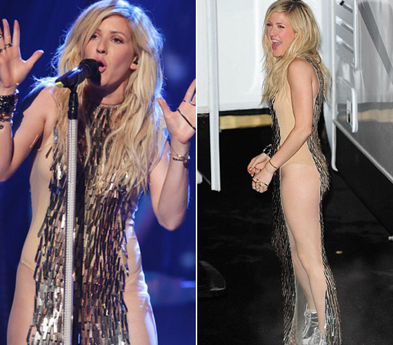 Ellie Goulding énekesnő hasonló ruhát viselt, mint Abbey Clancy, csak ő vett alá fehérneműt.