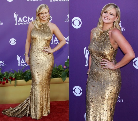 Miranda Lambert bátran bevállalta az aranyszínű ruhát, amely kihangsúlyozta nőies idmait.