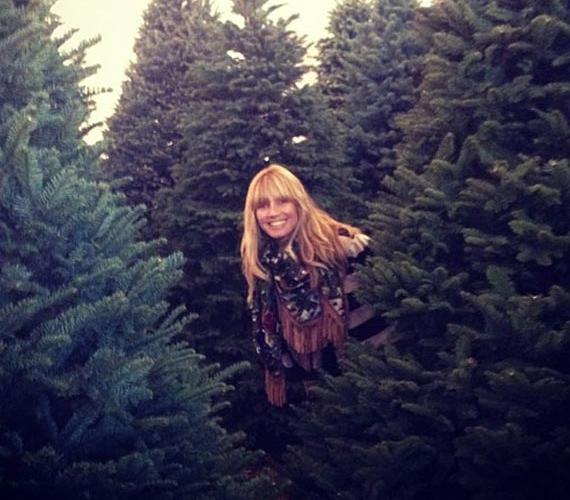 Heidi Klum ez egyszer magán hagyta a ruhát és a fenyőfák között fotóztatta magát.