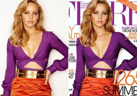 Jennifer Lawrence így sem volt elég vékony a képszerkesztőnek. Dereka kisebb lett, melle nagyobb, haja pedig dúsabb a címlapfotón.