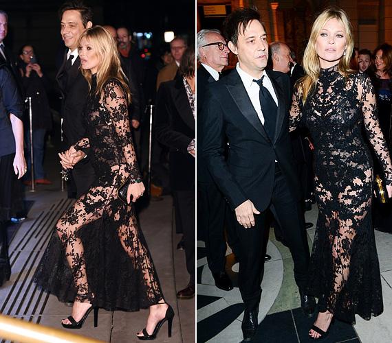 Kate Moss ruhája sem volt kevésbé figyelemfelkeltő, a 41 éves szupermodell egy átlátszó, csipkés darabban ment a partira.
