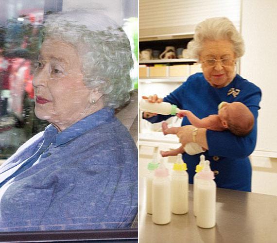Az első fotó valódi, II. Erzsébetet abban az autóban fotózták, amellyel elhagyta kedden a Kensington-palotát, miután meglátogatta a kis Charlotte-ot és szüleit. Alison Jackson úgy gondolta, ha már ott járt, a 89 éves királynő bizonyára kivette a részét a baba ellátásából, és rutinosan megetette a cumisüvegből.