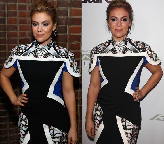 A fekete-fehér ruha önmagában csinos, de a színésznőnek nem áll túl jól, kissé rövidíti a nyakát.