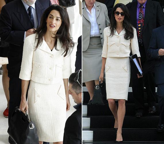 A munkában is lélegzetelállítóan néz ki a sztárfeleség - 2014 októberében Athénban ebben a Chanel kosztümben varázsolta el a görögöket.