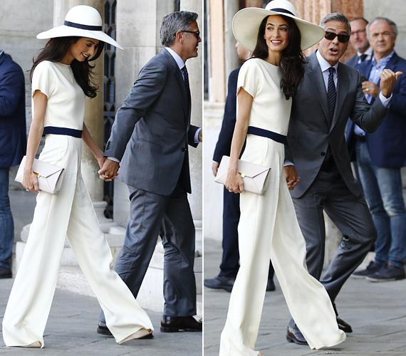 George Clooney és Amal Alamuddin 2014. szeptember 27-én keltek egybe Velencében, ahol több napot eltöltöttek az esküvő előtt és után. Ekkor viselte Amal a kétrészes Stella McCartney összeállítást, egy színben és stílusban passzoló kalappal.