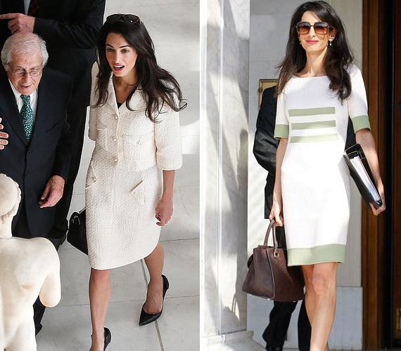 Fehér: a sztárfeleség kedveli a letisztult színeket és formákat, a fehér az egyik kedvence, amit kosztümként vagy egészruhaként is szívesen visel a munkához, ráadásul kifejezetten jól áll a sötét hajához.