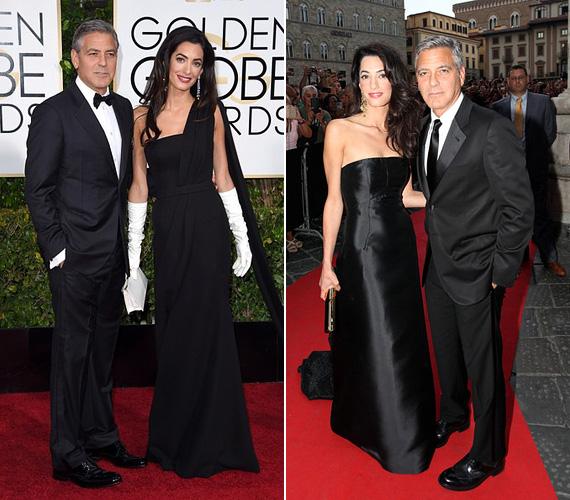 Fekete: a vörös szőnyeges rendezvényekre a legbiztosabb választás a fekete, ezt Amal Clooney is tudja, legtöbbször ilyenben mutatkozott - mint januárban, a Golden Globe-on.
