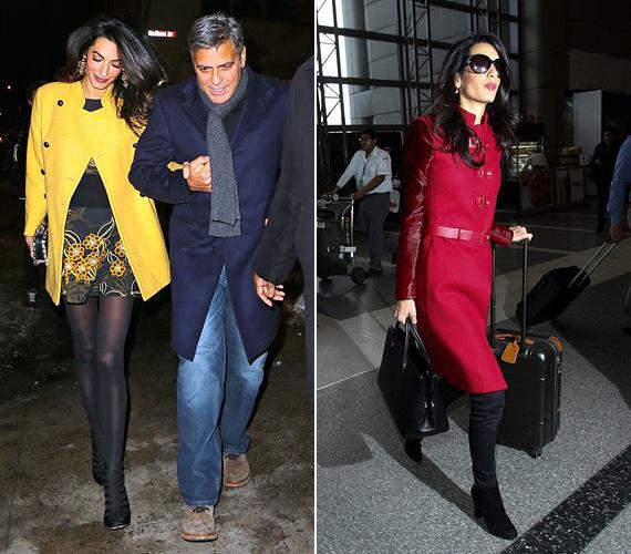 Kabát: Amal Clooney szereti a színes, feltűnő kabátokat, legutóbb ebben a sárga kabátban kapták lencsevégre, ami alatt egy színben hozzáillő miniruhát viselt - férjével így indult vacsorázni a hétvégén Manhattanben. A piros kabát a repülőtéren volt rajta korábban.