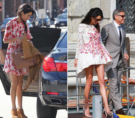 Virágos ruha: tavaly nyáron gyönyörű volt Velencében az asszimetrikus aljú Giambattista Valli csipkés ruhában, ebben mutatkozott először az eskövő után. A piros virágos ruhát pedig a Golden Globe után viselte Los Angelesben.