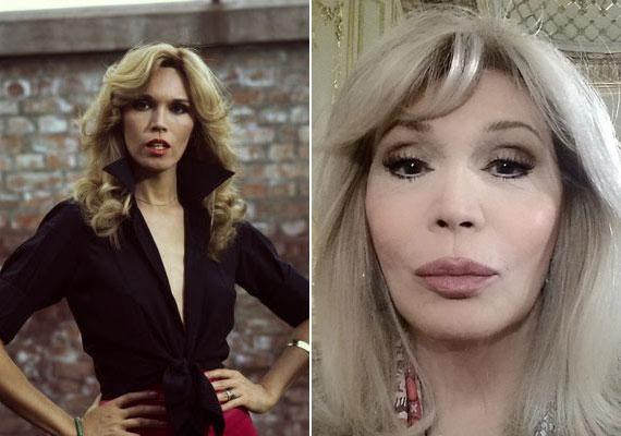 Szelfi és Amanda Lear. Az énekesnő szinte már nem is hasonlít egykori önmagára, szinte mindent plasztikáztatott már magán.