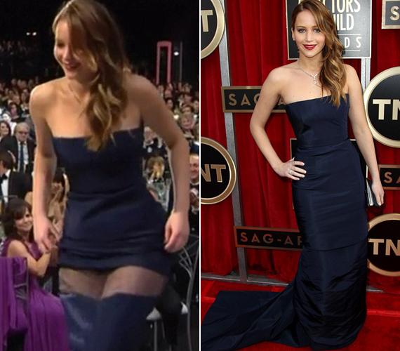 Jennifer Lawrence a Napos oldalban nyújtott alakításáért kapta a legjobb színésznőnek járó díjat a SAG-gálán, ám az átvételbe csúszott egy kis hiba. Leszakadt ugyanis a szoknyája.