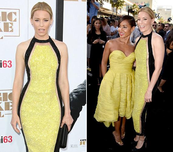 A 41 éves Elisabeth Banks színésznő Jadához hasonlóan sárga ruhában érkezett, amelyet fekete kontúr ölelt körbe, ezzel optikailag karcsúsítva a sztárt.