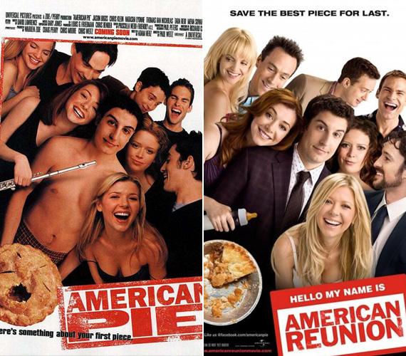 Az Amerikai pite és az American Pie Reunion plakátjain a szereplők öregedtek, de nem komolyodtak.