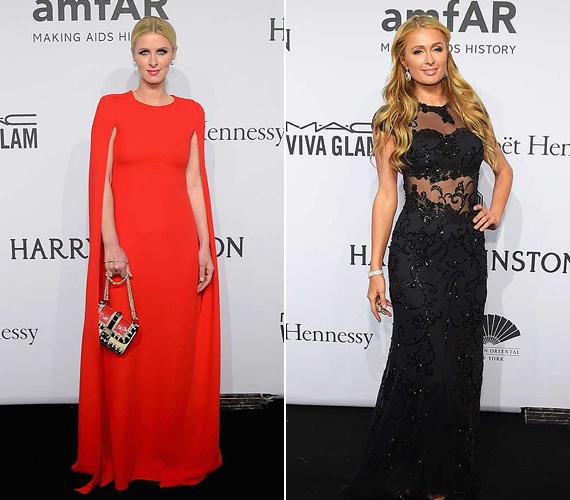 Nicky Hilton élénkpiros Romona Keveza estélyijében nem maradt feltűnés nélkül. Nővére, Paris Hilton a klasszikus feketére szavazott: egy csipkés Macduggal ruha mellett tette le a voksát.
