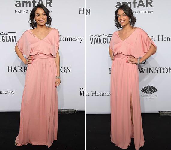 Rosario Dawson színésznő egy lágy esésű, púderrózsaszín Emilio Pucci estélyiben jelent meg a nagyszabású eseményen.
