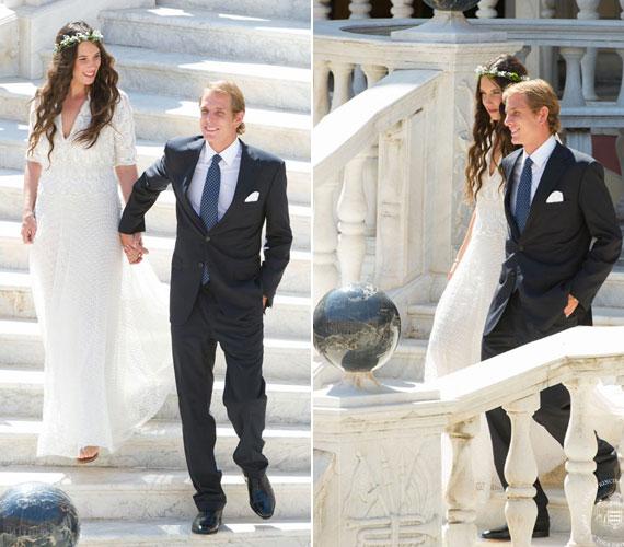 A trónteremben mondták ki a boldogító igent, háromszáz vendég jelenlétében. Az ara hófehér, csipkével díszített ruhájához egyszerű virágkoszorút viselt.