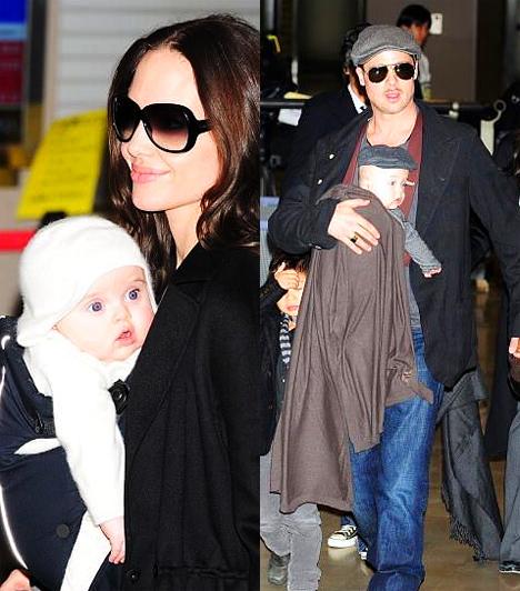 Az ikrek  2008. július 12-én születtek meg császármetszéssel Jolie és Pitt ikrei, Knox Léon és Vivienne Marcheline. A nagyközönség félévesen, a japán Narita repülőtéren pillanthatta meg őket a maguk aprócska valójában.  Kapcsolódó cikk: Ritka pillanat! Angelina Jolie, ahogy csak kevesen láthatták »