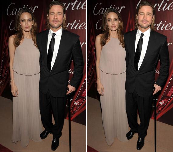 Angelina Jolie a tőle megszokottól zártabb és bővebb ruhában érkezett a gálára, Brad Pitt pedig botjával keltett feltűnést.