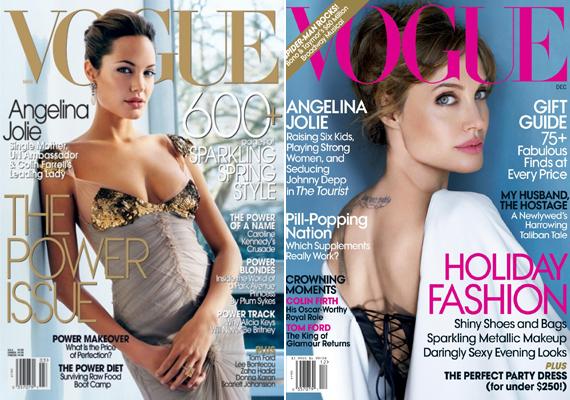 Angelina Jolie a Vogue címlapjain sejtelmes, szexi pillantással néz a kamerába.