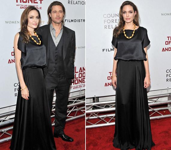 Angelina Jolie egy szokatlanul visszafogott, fekete ruhát viselt.