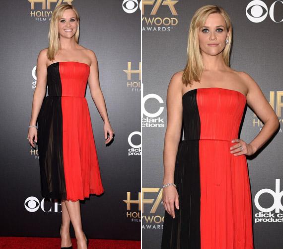 Reese Witherspoon egy fekete-vörösJ. Mendel ruhát választott.