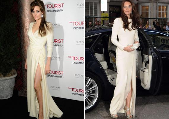 A Tourist című film premierjén viselte a színésznő ezt a törtfehér ruhát, míg a hercegné 2012-ben a Thirty Club gálavacsoráján.