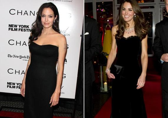 A hercegné a Sun Military Awards gáláján viselte ezt a földig érő, fekete ruhát 2011-ben, Angelina Jolie pedig a New York-i filmfesztiválon.