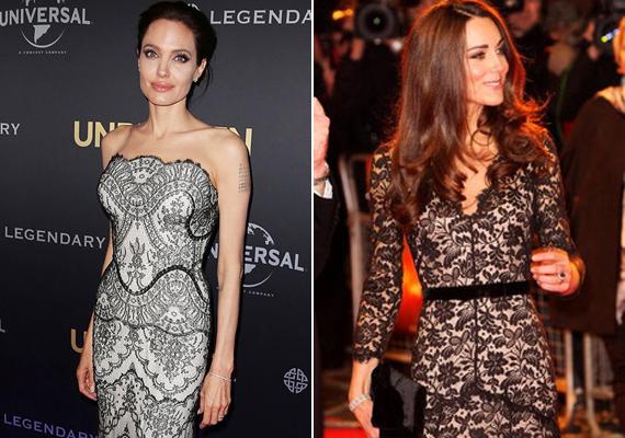 A stílus itt is hasonló, a színésznő az Unbroken című film bemutatójára vette fel ezt a ruhát, Katalin hercegné pedig a 30. születésnapját ünnepelte ebben a fekete csipkeruhában.