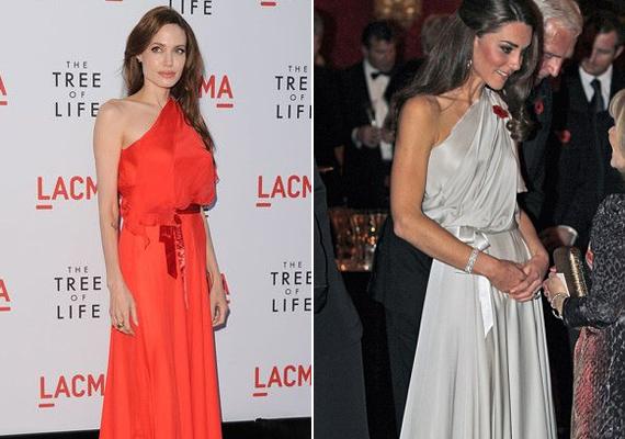 A szín nyilvánvalóan nem is hasonlít, de ugyanazt a görög istennő stílusú, félvállas Jenny Packham ruhát viselték: Angelina a The Tree of Life című film premierén, míg Katalin egy jótékonysági gálán, 2011-ben.